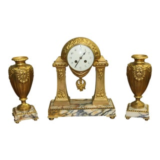 1940s French Art Deco Gilt Clock Garniture Set Signed G. Limousin - 3 Pc. Set For Sale