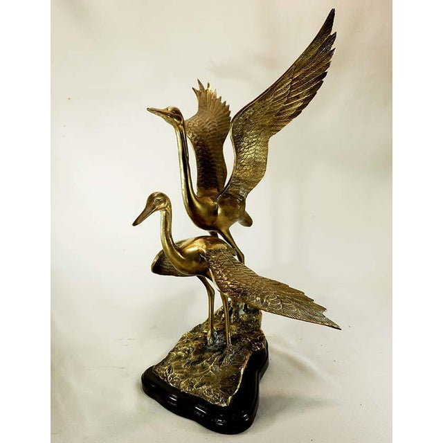 20th Century Art Deco Brass Cranes on Rock Sculpture For Sale - Image 4 of 6