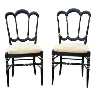 Vintage Tell City Golden French Toile Chairs - a Pair For Sale