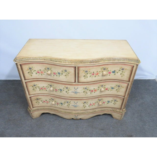 French Style Paint Decorated Serpentine Front Dresser For Sale In Philadelphia - Image 6 of 7