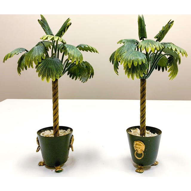 Pair of Hollywood Regency Petite Choses Cold Painted Bronze Palm Trees For Sale - Image 4 of 9