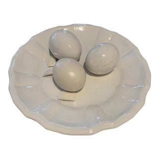 Porcelain Italian Eggs Plate For Sale