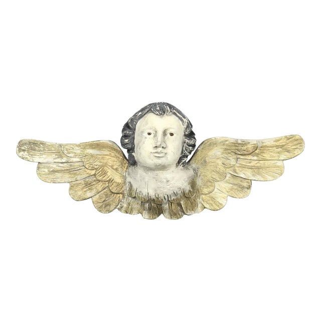 Large Handcarved Wood Cherub with Long Wings For Sale