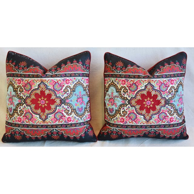 """Pierre Frey French Embroidered Feather/Down Pillows 18"""" Square - Pair For Sale In Los Angeles - Image 6 of 13"""