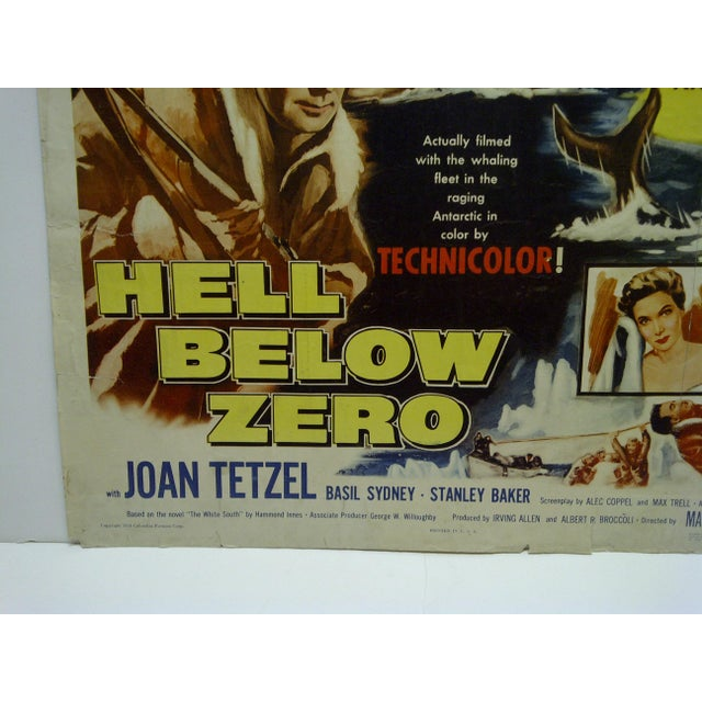 "Vintage Movie Poster ""Hell Below Zero"" Alan Ladd & Joan Tetzel 1954 For Sale - Image 4 of 5"