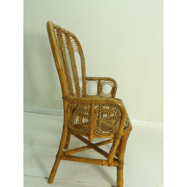 Mid 20th Century Vintage Boho Chic Rattan Settee For Sale - Image 5 of 8