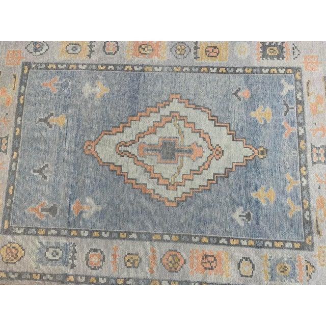 Transitional Turkish Oushak Blue Rug For Sale - Image 3 of 6
