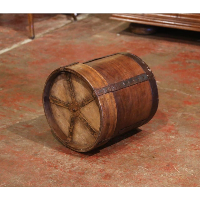 Metal 19th Century French Walnut and Iron Grain Measure Bucket or Waste Basket For Sale - Image 7 of 10