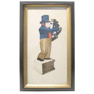 Man W/ Sextant Nautical Print, Framed For Sale