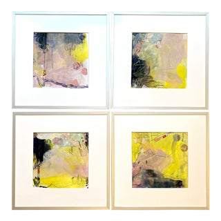 """""""True Love Series"""" Contemporary Abstract Mixed-Media Paintings by Michelle Heimann, Framed - Set of 4 For Sale"""