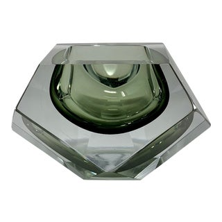Italian Flavio Poli Smokey Grey & Clear Multi Faceted Murano Glass Bowl For Sale