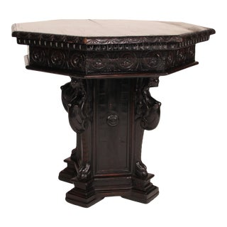 Italian Renaissance Style Carved Walnut Octagonal Top Pedestal Table For Sale