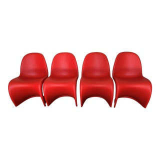 Verner Panton for Vitra Tangerine Panton Chairs - Set of 4
