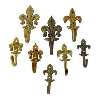 Brass Fleur De Lis Hooks, Set of 8 For Sale