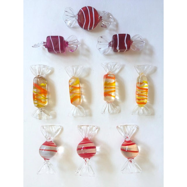 Glass Vintage Mid Century Modern Italian Hand Blown Murano Art Glass Candies - Set of 52 For Sale - Image 7 of 11