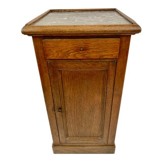 Antique Oak and Marble Cabinet Stand For Sale