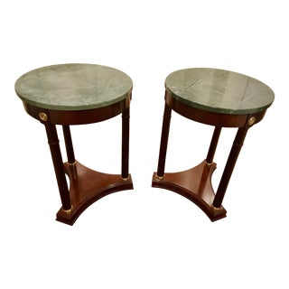 Empire Style Marble Top Side Tables - A Pair