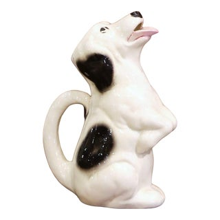 19th Century French Painted Barbotine Ceramic Dog Pitcher From Sarreguemines For Sale