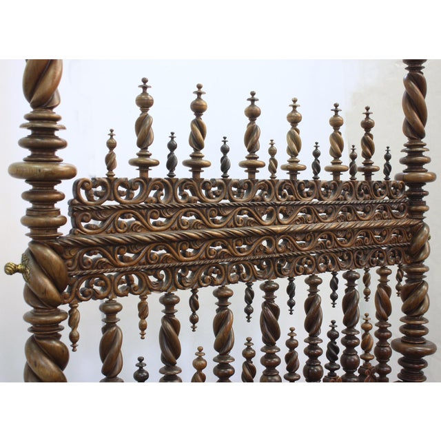 17th Century Portuguese Carved and Turned Bed For Sale - Image 4 of 8