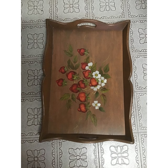 19th Century Large Hand Painted Wood Serving Tray Fruit Painted Serving Tray Decorative Serving Tray For Sale - Image 10 of 12