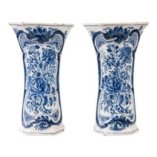 Antique 18th-Century Dutch Delft Faience Floral Trumpet Vases - a Pair For Sale