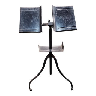 Antique American Giffen & Giffen Wrought Iron Dictionary Stand on Caster Wheels For Sale