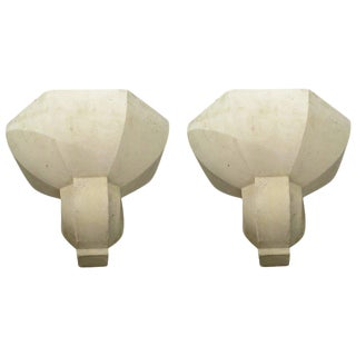 Pair of Custom Plaster Sconces in the French, 1940s Manner For Sale