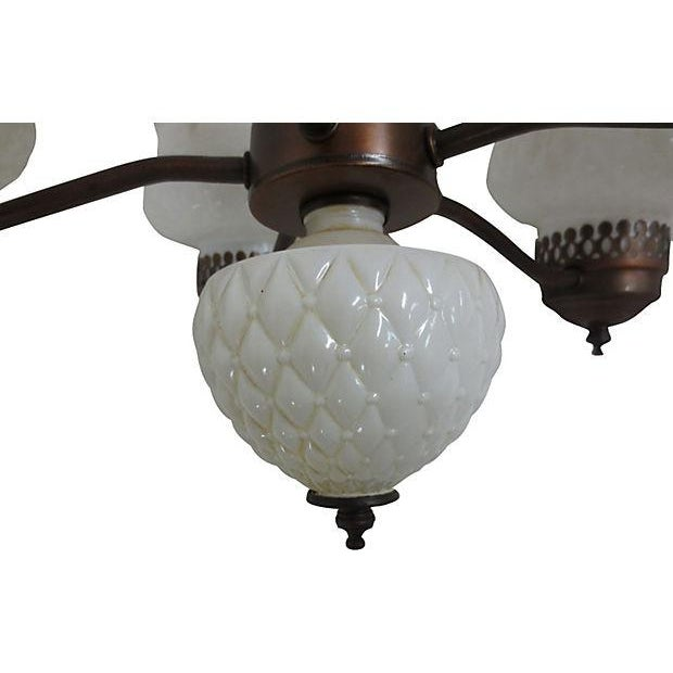 Chandelier With Milk Glass Shades - Image 4 of 4