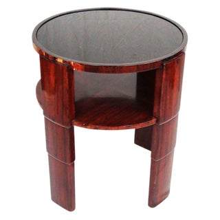 1930;s French Round Side Table With Black Glass Top and Rosewood Veneer For Sale
