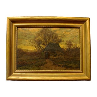 """19th Century Early American Painting, """"Winter Thatched Cottage"""" by Walter C. Hartson"""