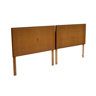 George Nelson Thin Edge Twin Headboards in Walnut With Caning, Pair