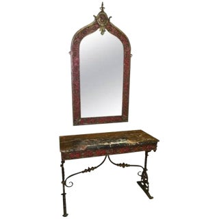 1930s Art Deco Oscar Bach Attributed Mirror and Console Table - 2 Pieces For Sale