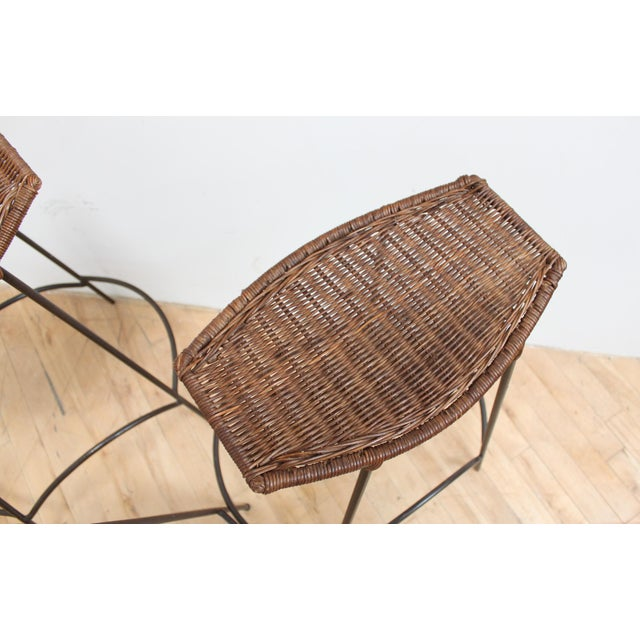 Iron Set of 4 Raymor Arthur Umanoff Wicker and Iron Counter Stools For Sale - Image 7 of 8