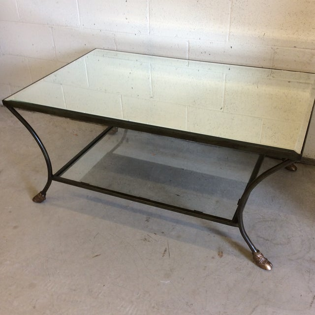 Tan Rectangular Mirror Top Iron Coffee Table with Brass Hoof Feet For Sale - Image 8 of 9