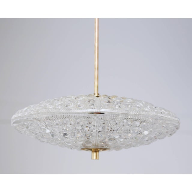 Carl Fagerlund Carl Fagerlund for Orrefors Bubble Crystal Duel Disc Chandelier, Circa 1960s For Sale - Image 4 of 6