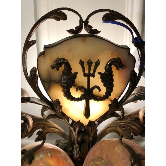 Rare Antique Bronze Marble & Nautilus Shell Centerpiece Lamp Excellent Condition!