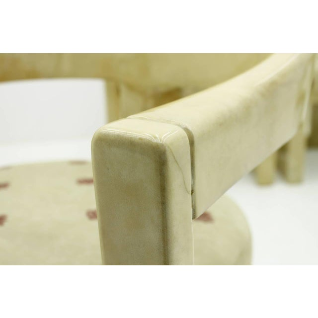 Animal Skin Set of Six Karl Springer Onassis Chairs, Goatskin, 1980s For Sale - Image 7 of 10