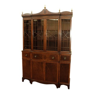 Federal Style Banded Mahogany Breakfront, China Cabinet, Bookcase For Sale