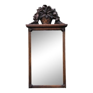Charles Pollock for William Switzer Carved Italian Walnut & Beveled Glass Mirror - Fruit Basket Top For Sale