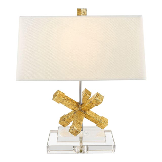 Contemporary Jackson Square Gold Steel Table Lamp For Sale In Baton Rouge - Image 6 of 7