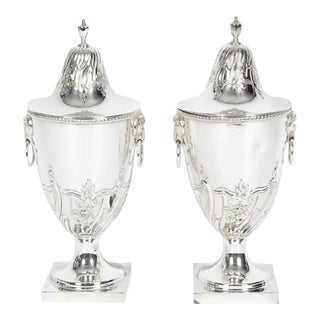 Old English Silver Plate Covered Urn - a Pair For Sale