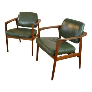 Folke Ohlsson for Dux of Sweden Pair of Teak and Leather Arm Chairs