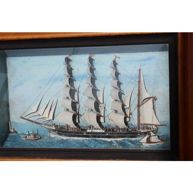 Wood 19th C. Antique American Sailing Ship Painting For Sale - Image 7 of 10