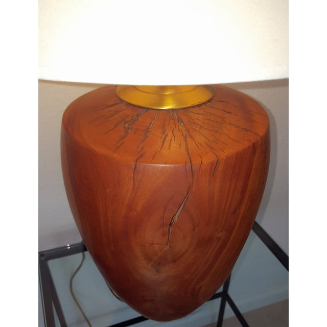 Mid-Century Modern Heavy Hand Turned Wooden Lamp - Image 7 of 8