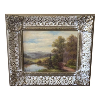 Vintage Mid-Century S. Hurst Lake and Tree Landscape Painting For Sale