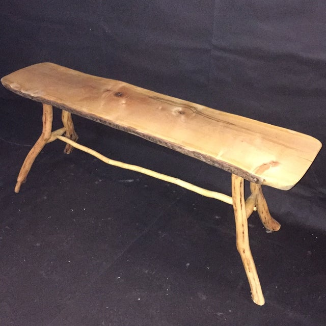Handmade Rustic Natural Pine Bench - Image 2 of 7