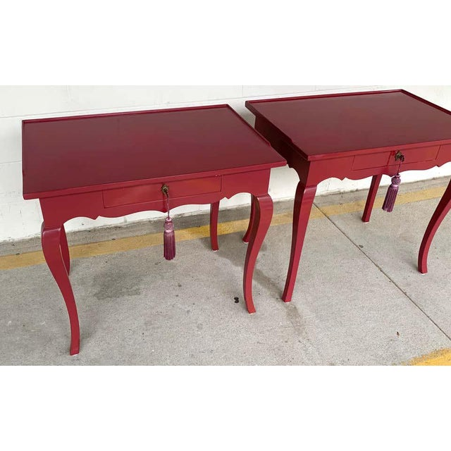 Bold Mauve Lacquered End/ Nightstands Tables For Sale - Image 4 of 10
