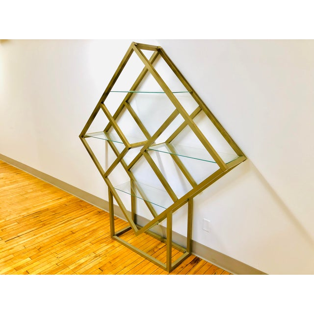 Contemporary Mid Century Modern Metal and Glass Square Diamond Etagere Attr. Milo Baughman - MCM Shelving Unit Display Plant Stand For Sale - Image 3 of 8