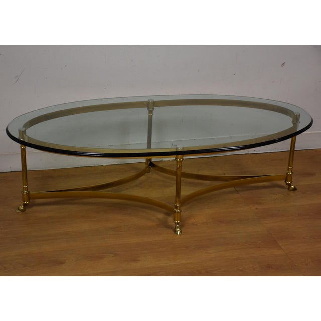 Hollywood Regency Brass & Glass Coffee Table - Image 2 of 8