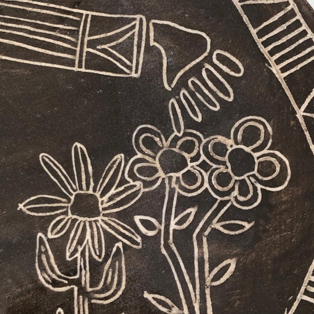 Folk Art Slab Pottery Plate With Sgraffito Earth Mother and Flowers For Sale - Image 3 of 13
